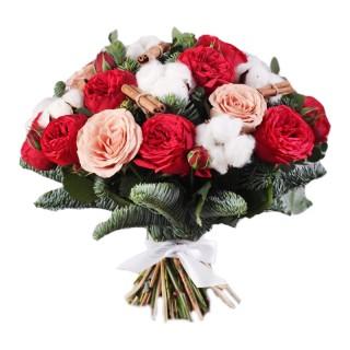 Рождественский букет цветов