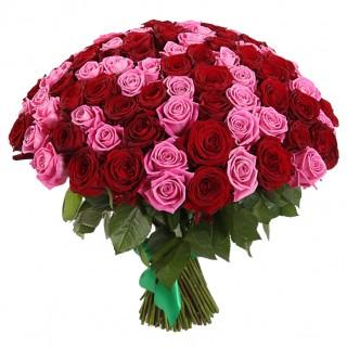 Букет из 101 красно-розовой розы