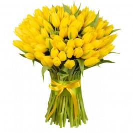 Букет из 101 жёлтого тюльпана